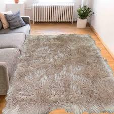 home interior love large faux sheepskin rug 8 x 10 white gy fur rectangle shape