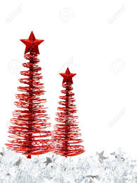 Vertical Christmas Border Of Red Trees And Silver Garland On Stock