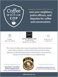 Coffee With A Cop Flyer Coffee With A Cop Returns To Newtown Wbcb News