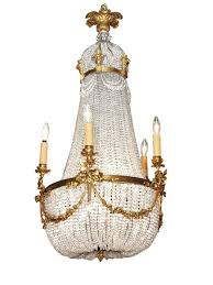 antique french empire chandelier crystal and bronze