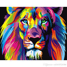 colorful lions animals diy digital oil painting by numbers abstract drawing 40x50cm figure painting acrylic canvas painting diy painting numbers painting