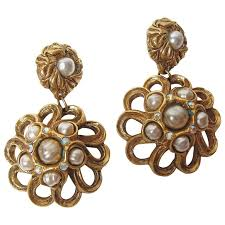 claire deve 1980s ornate faux pearl oversized chandelier earrings for