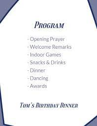 This birthday party program template is created by the talented graphic designers at fotor. Online Striped Birthday Party Program Template Fotor Design Maker