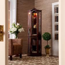home consoles curios lighted corner curio cabinet mahogany