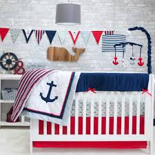 details sailor anchors 6 piece crib bedding set nursery infant