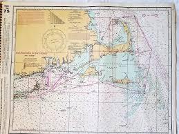 Vintage Nautical Chart Nantucket Sound Marthas Vineyard Nantucket Cape Cod