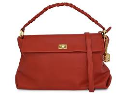soft milled leather handbag red gold