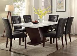 acme furniture acme 72120 forbes white marble dining table walnut finish