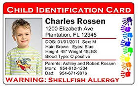 Full Cards 101 Of Travel Personalized 2 Id red uk Child co Card Custom Color Identification Lost Amazon Office Products set