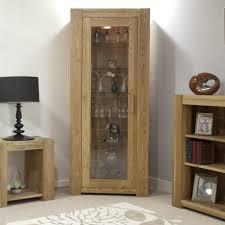 furniture oak wood display cabinet with glass door added open shelf