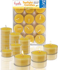 Beeswax Tea Lights Amazon Hyoola Pure Beeswax Tea Lights 24 Pack Handmade Decorative Unscented Tealight Candles 4 Hour Burn Time Clear Cup