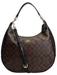 New Authentic COACH Signature Monogram Hobo Large Shoulder Bag in Elegant  Brown Black