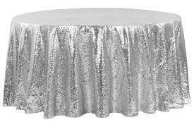 glitz sequins 108 round tablecloth silver