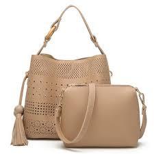 stylish new hollow pu leather bucket handbags set wallet purse bag women handbag elegant las casual shoulder cross bags handbags whole leather