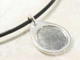 memorial sterling silver teardrop fingerprint pendant with a border
