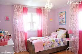 Chic Pink Bedroom Curtains For Girls Bedroom With Wooden Single Bed And  Colorful Floral White Cover Bed And Amazing Glass Chandelier With Wooden  Flooring As ...