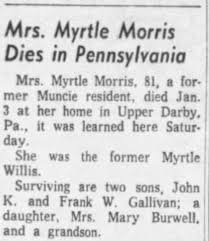 Obituary for Myrtle Willis Gallivan Morris (Aged 81) - Newspapers.com