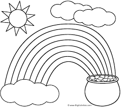 St Patricks Day Coloring Rainbow Pot Of Gold Sun And Clouds Coloring Page St