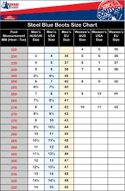 Steel Size Chart Steel Blue Boots Size Chart Bedowntowndaytona Com