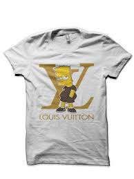 Louis Vuitton Bart Simpson White Half Sleeve T Shirt