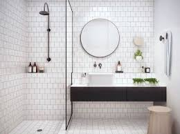 bathroom tiles black and white.  Black Classic White Bathroom Tile With Round Mirror And Black Vanity To Bathroom Tiles Black And White