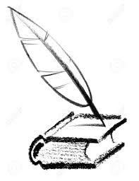 crayon sketched ilration of a book and quill stock ilration 18935537