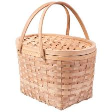 extra large wood chip picnic basket with cover and drop down handles