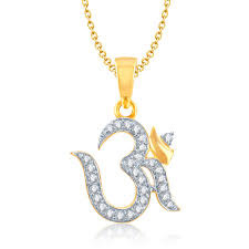 diamond solitaire necklace inspirational fashion jewellery pendent om gold and rhodium plated cz pendant