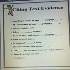 Citing Text Evidence Sentence Starters Anchor Chart Student Reference Cards