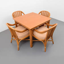 Game Table And Chairs Set Mcguire Rattan Dining Game Table Set Of 4 Chairs Lofty Marketplace