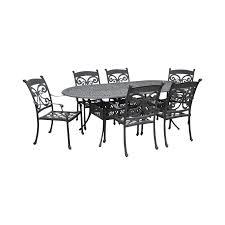 Cast aluminum patio dining table 6 chair set chairish