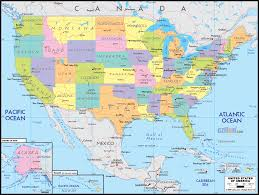 political map of united states america inside a of the