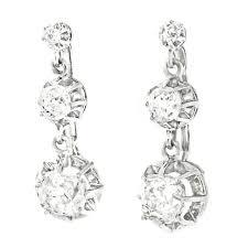 edwardian antique diamond platinum chandelier earrings for