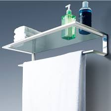 Chrome Polished Bathroom Glass Shelf Wall Mount Cosmetic Holder with Towel  Bar .