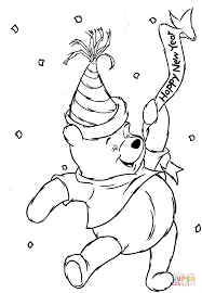 Small Picture Winnie the Pooh is celebrating Happy New Year coloring page Free