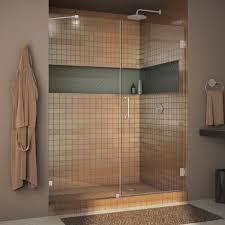 dreamline unidoor lux 57 in x 72 in frameless hinged shower door in brushed