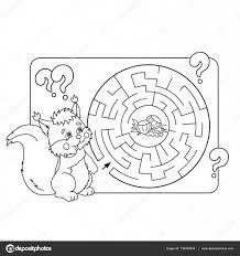 幼児の教育迷路や迷宮ゲームの漫画ベクトルの例パズルナッツとページ