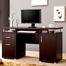 Computer Desk Cabinet Modern Floating Top Design Home Office Cappuccino Computer Desk