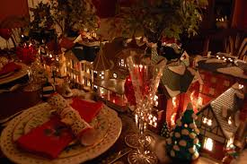 Christmas Table Setting Christmas Table Setting Tablescape With Dept 56 Lit Houses And
