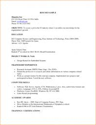 Sample Resume For Computer Science Student Fresher Free Resume