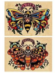 Old School Tattoo Art Flash Bee Butterfly Skull Moth Prints 5 X 7