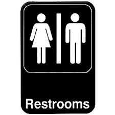 restroom directional sign. RESTROOM \ Restroom Directional Sign W