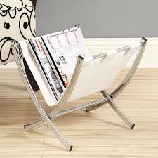 White Leather Magazine Holder Unique Shop White Leatherlook Chrome Metal Magazine Rack Free Shipping