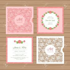 Invitation Envelope Template Wedding Invitation Or Greeting Card With Flower Ornament Cut