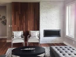 white stone fireplace corner