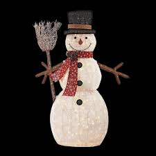 Home Accents Outdoor Christmas Decorations Home Accents Holiday 100 in LED Lighted PVC Cotton String Snowman 3