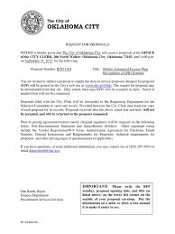 Oklahoma City Rfp Mobile Automated License Plate Pdf Request For
