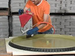 next tabletop casting round concrete tabletop and base tabletop spraying cheng concrete exchange