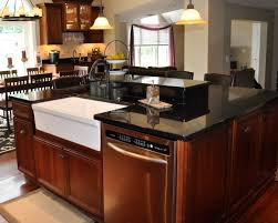 interior cool kitchen decoration using white ceramic farmhouse sinks including square cherry wood island with and black granite counter tops adorable top