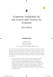 Poetry Templates Pdf Grammar Templates For The Future With Poetry For Children